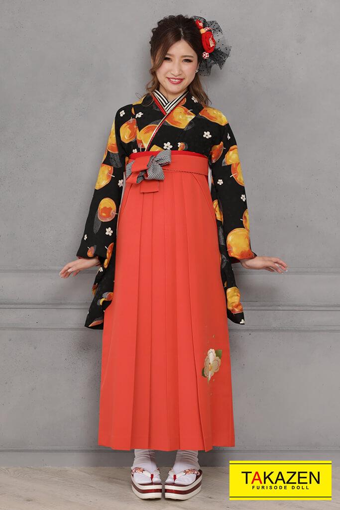 【卒業式袴レンタル/通販可】個性的レトロモダン(目立つりんご柄) 黒/オレンジ R31047