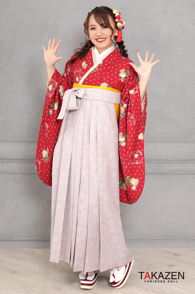 【卒業式袴レンタル/通販可】個性的レトロモダン(可愛いイチゴ柄) 赤/クリーム R31048