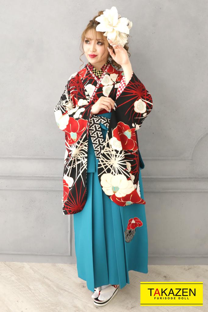 【卒業式袴レンタル/通販可】レトロかっこいい椿柄(派手目立つ) 黒/赤/ブルー(水色) R32002