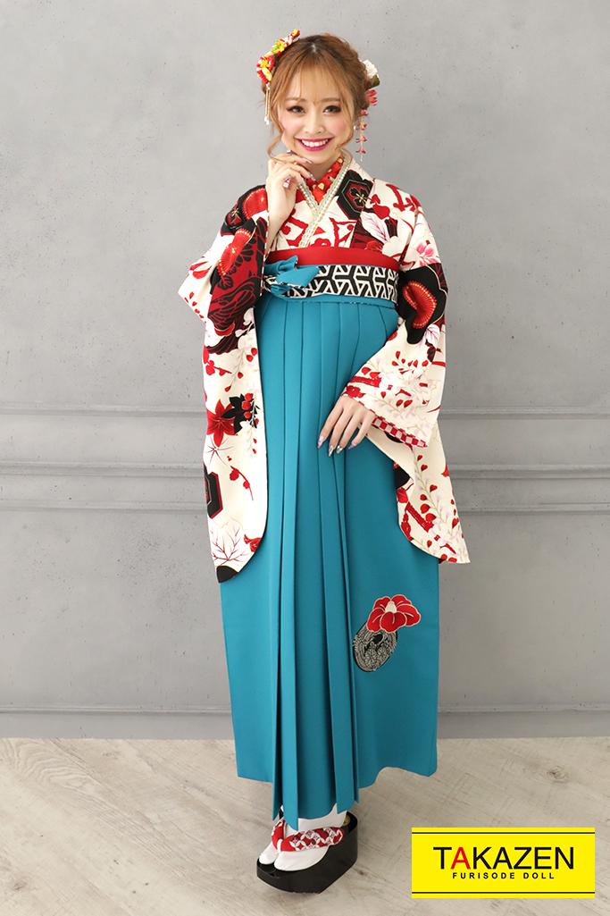 【卒業式袴レンタル/通販可】レトロポップ梅柄(おしゃれかわいい) 白/赤/クリーム R32003