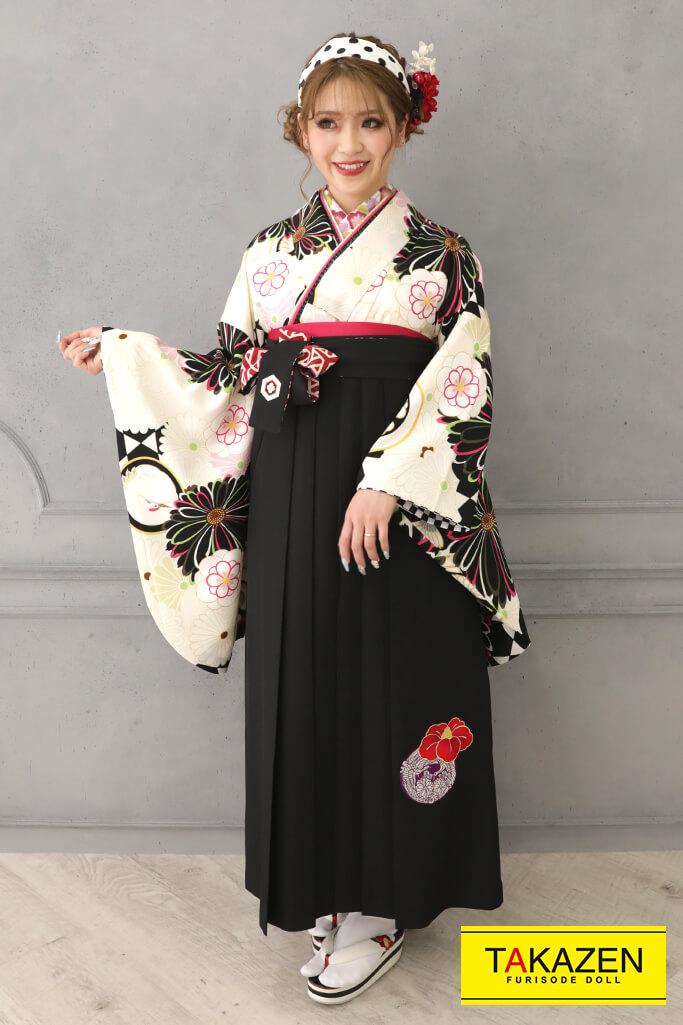 【卒業式袴レンタル/通販可】個性的かわいいレトロ(ポップな菊柄) 白/黒/クリーム R32005