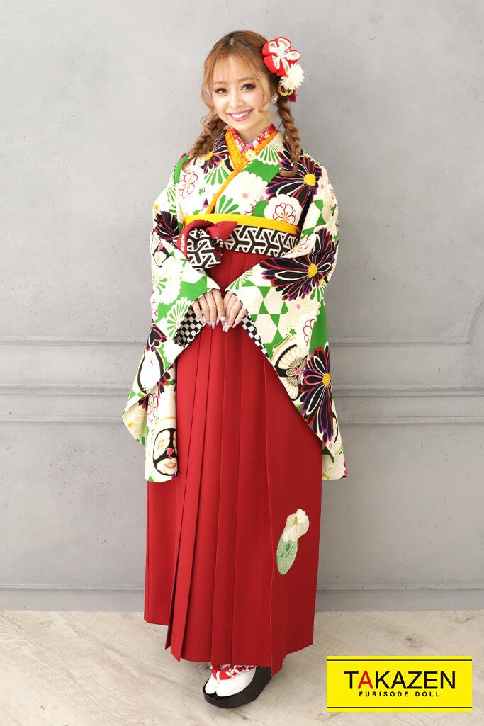 【卒業式袴レンタル/通販可】個性的レトロモダン(菊柄) 赤/グリーン(緑色) R32006