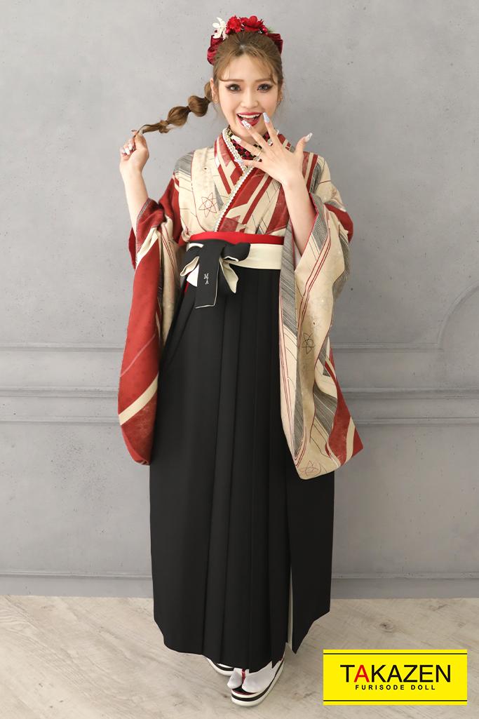 【卒業式袴レンタル/通販可】モダンアンテナ(幾何学模様) グレー/黒/ベージュ R32009