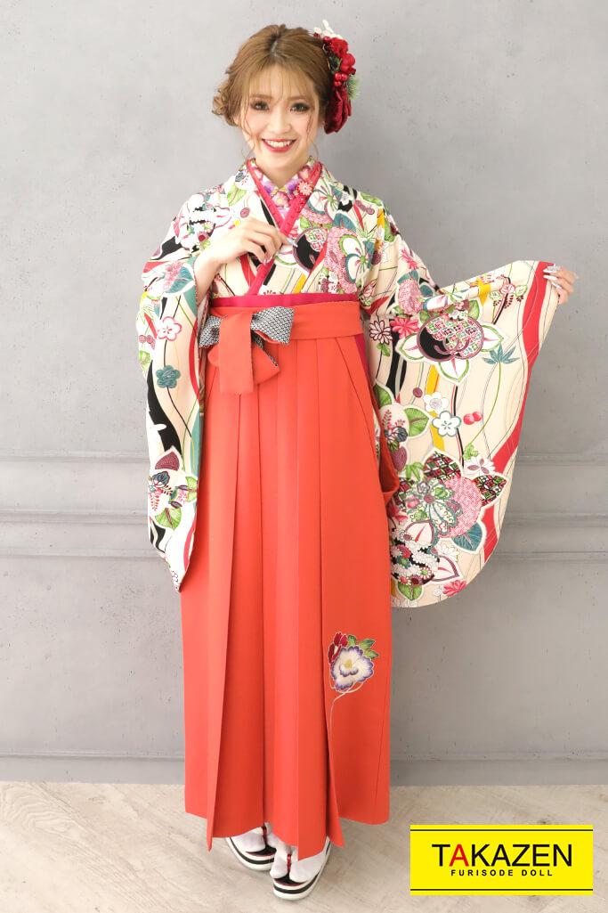 【卒業式袴レンタル/通販可】個性的レトロモダン(清楚な花柄) クリーム/ピンク R32013