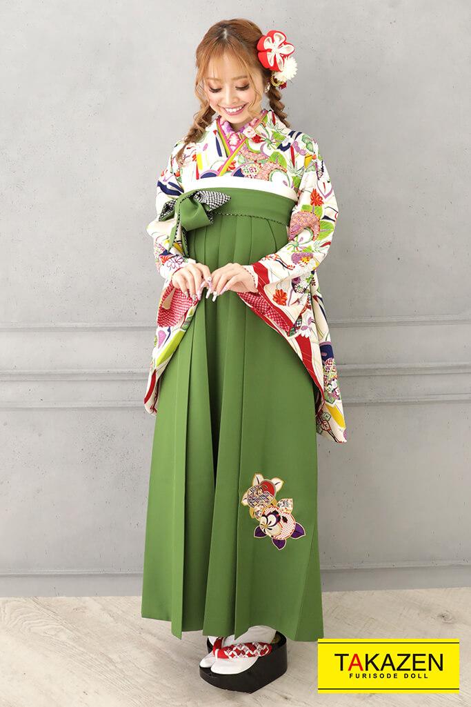 【卒業式袴レンタル/通販可】おしゃれレトロ古典(かわいい花柄) 白/クリーム/グリーン(緑色) R32014