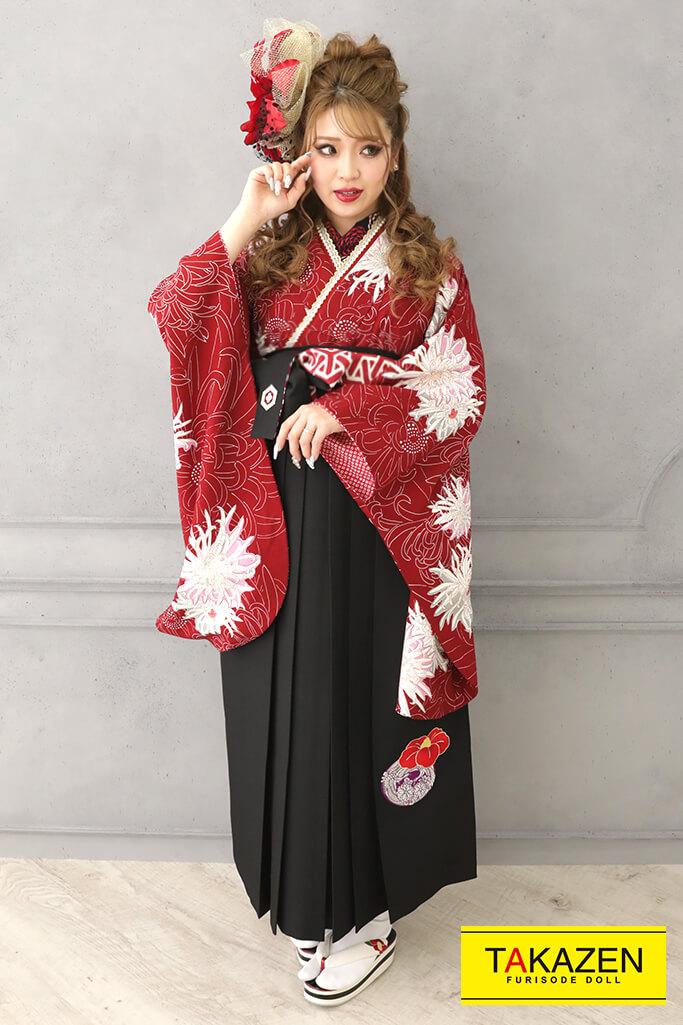 【卒業式袴レンタル/通販可】目立つおしゃれ古典(かっこいい乱菊柄) 赤/黒 R32016