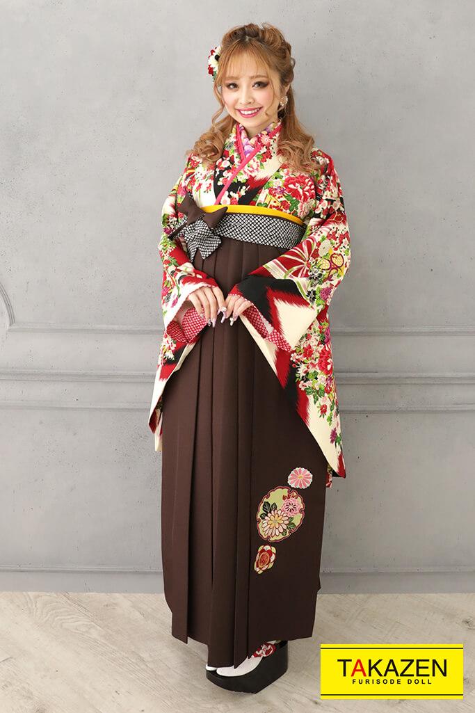 【卒業式袴レンタル/通販可】レトロポップ古典(かわいい花柄) クリーム/赤/グリーン(緑色) R32017