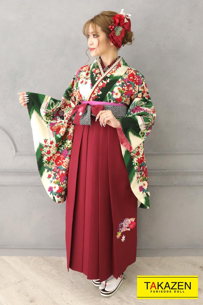 【卒業式袴レンタル/通販可】個性的レトロモダン(かわいい花柄) 紺/赤/グリーン(緑色) R32018