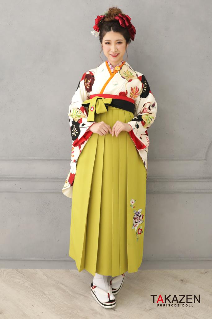 【卒業式袴レンタル/通販可】個性的可愛いレトロ(派手かわいい椿柄) 白/赤/黒 R32019