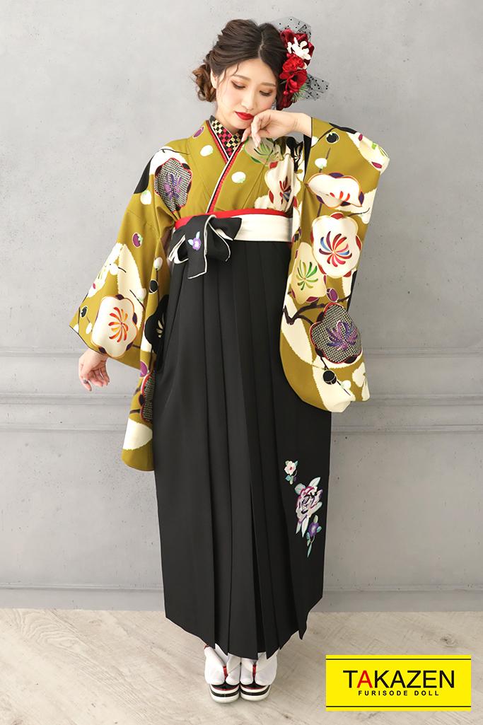 【卒業式袴レンタル/通販可】個性的可愛いレトロ(大人可愛い椿柄) 黒/カラシ R32020