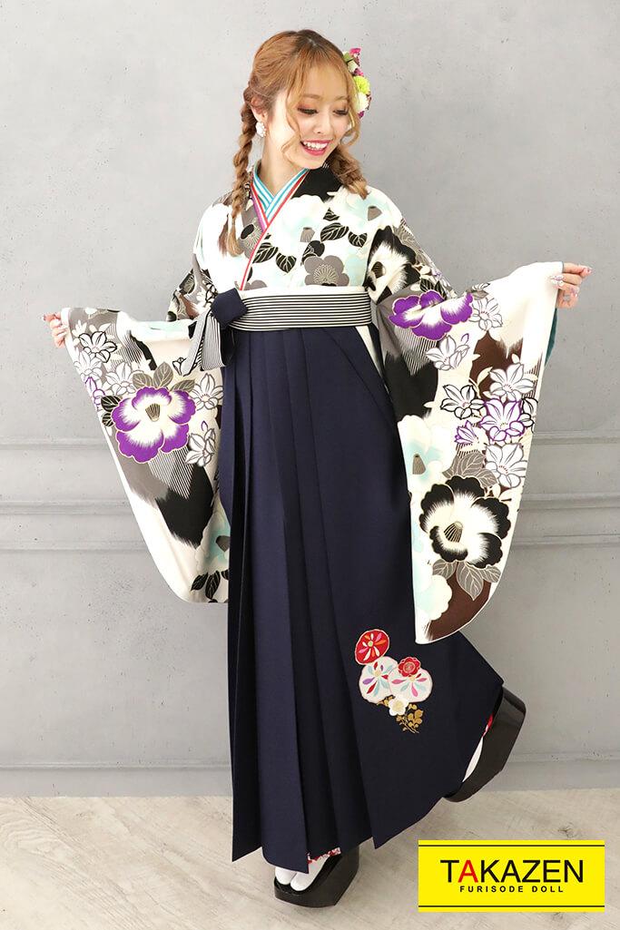 【卒業式袴レンタル/通販可】個性的可愛いレトロ(清楚椿柄) 白/黒/ブルー(水色) R32021