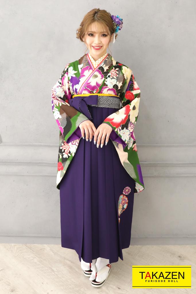 【卒業式袴レンタル/通販可】個性的レトロモダン(ポップな椿柄) 紫/グリーン(緑色) R32022