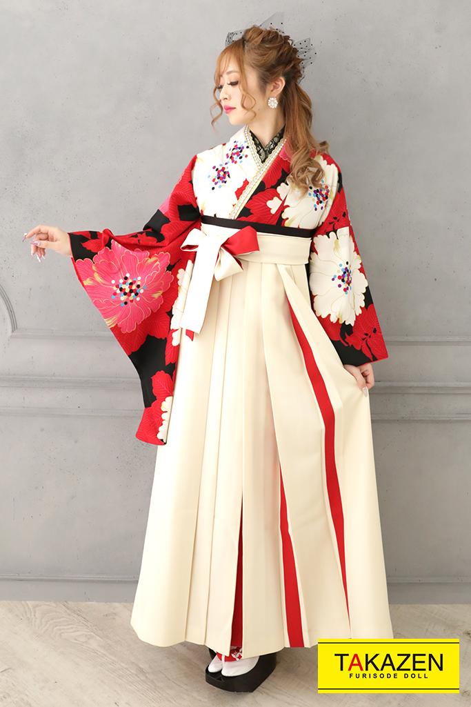 【卒業式袴レンタル/通販可】華やかモダン(かっこいいボタン柄) 赤/黒/白 R32023