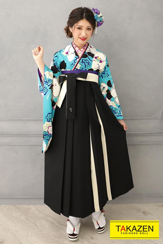 【卒業式袴レンタル/通販可】個性的レトロモダン(可愛い椿柄) 白/ブルー(水色) R32024