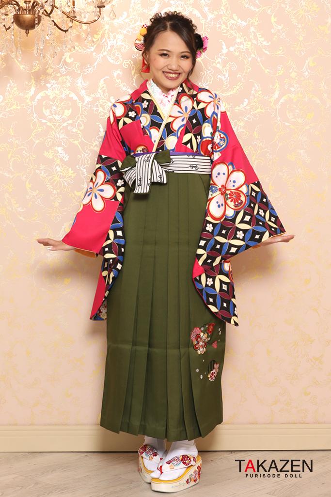 【卒業式袴レンタル/通販可】個性的レトロモダン(派手可愛い) 黒/紫/ピンク R32031