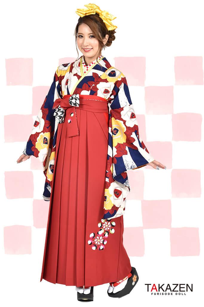 【卒業式袴レンタル/通販可】人気個性的レトロモダン(椿柄可愛い) RY001