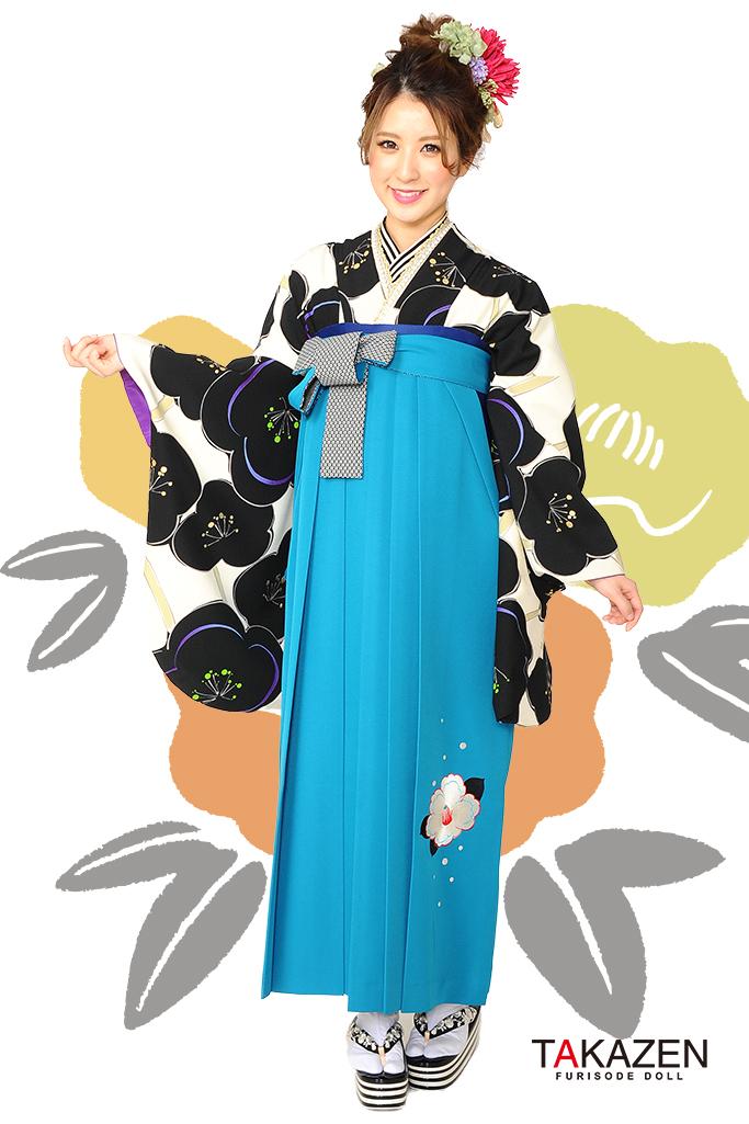【卒業式袴レンタル/通販可】人気個性的レトロモダン(可愛い梅柄) RY004