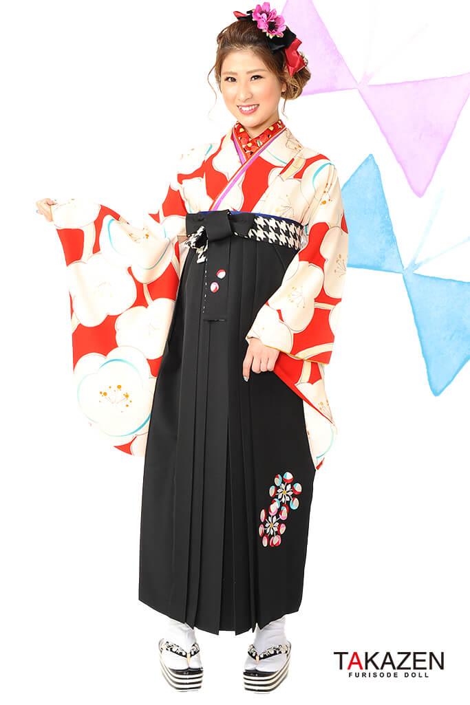【卒業式袴レンタル/通販可】人気個性的レトロモダン(梅柄可愛い) RY005