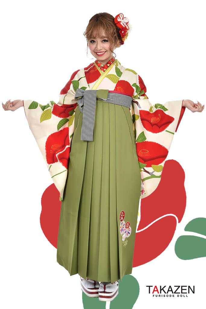 【卒業式袴レンタル/通販可】人気個性的レトロモダン(可愛い椿柄) RY006