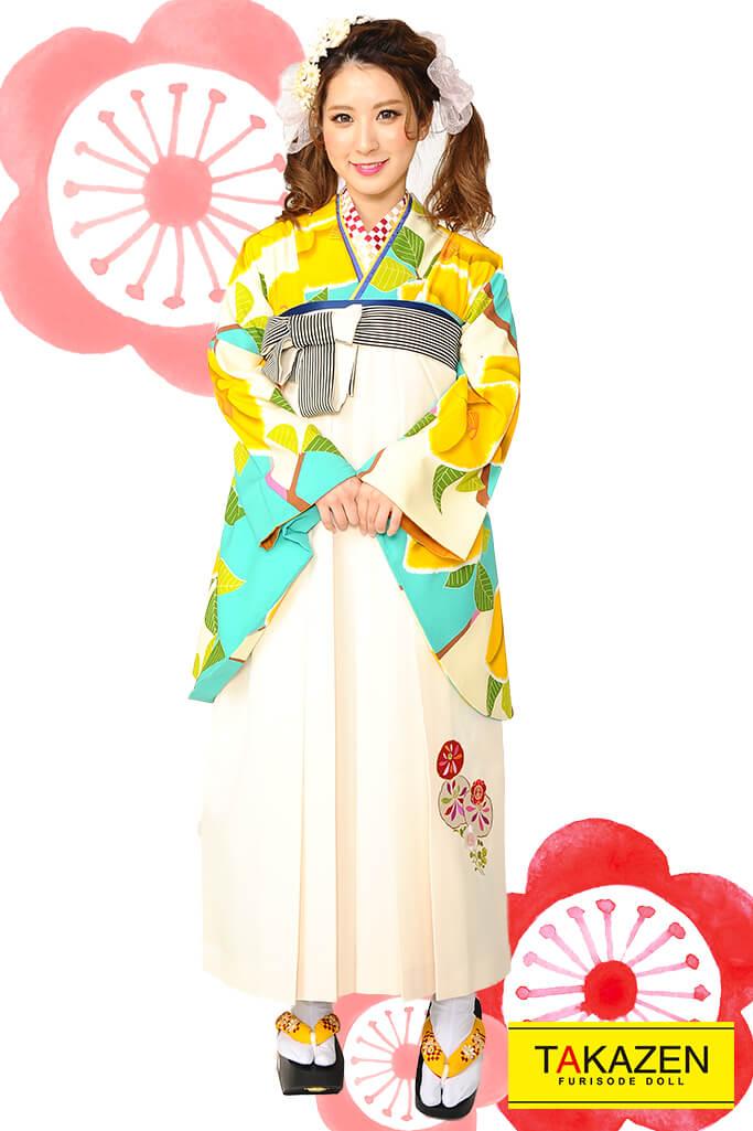 【卒業式袴レンタル/通販可】人気個性的レトロモダン(ツバキ柄可愛い)  RY007