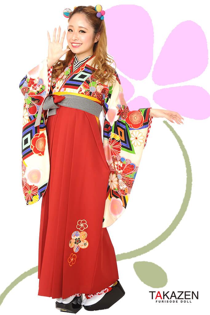 【卒業式袴レンタル/通販可】人気個性的レトロモダン(派手可愛い) RY010
