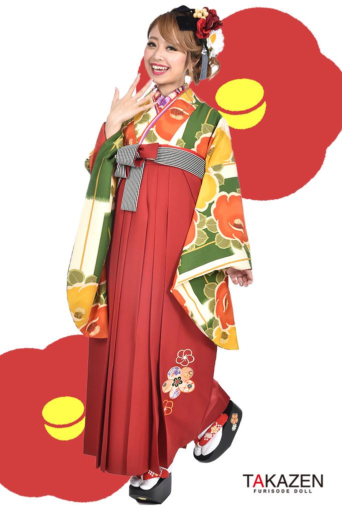 【卒業式袴レンタル/通販可】人気個性的レトロモダン(目立つツバキ柄) RY011