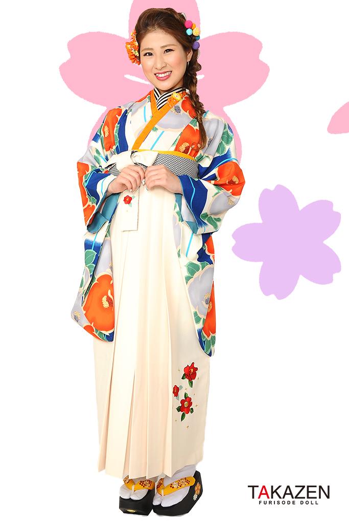 【卒業式袴レンタル/通販可】人気個性的レトロモダン(椿柄目立つ) RY012