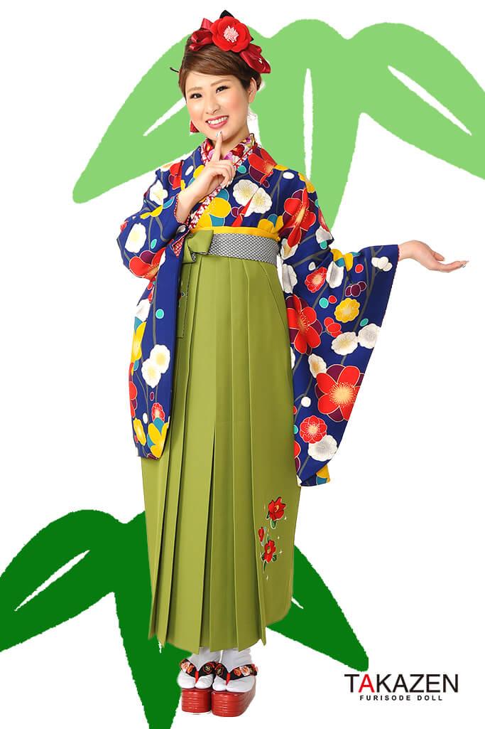 【卒業式袴レンタル/通販可】人気個性的レトロモダン(可愛い椿柄) RY013