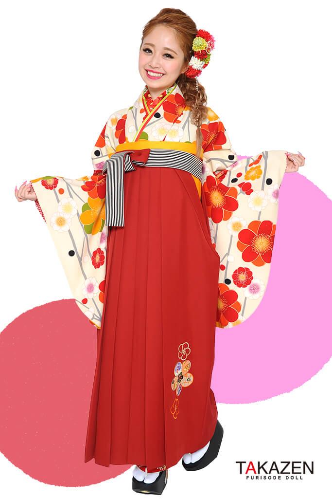 【卒業式袴レンタル/通販可】人気個性的レトロモダン(派手可愛い) RY014