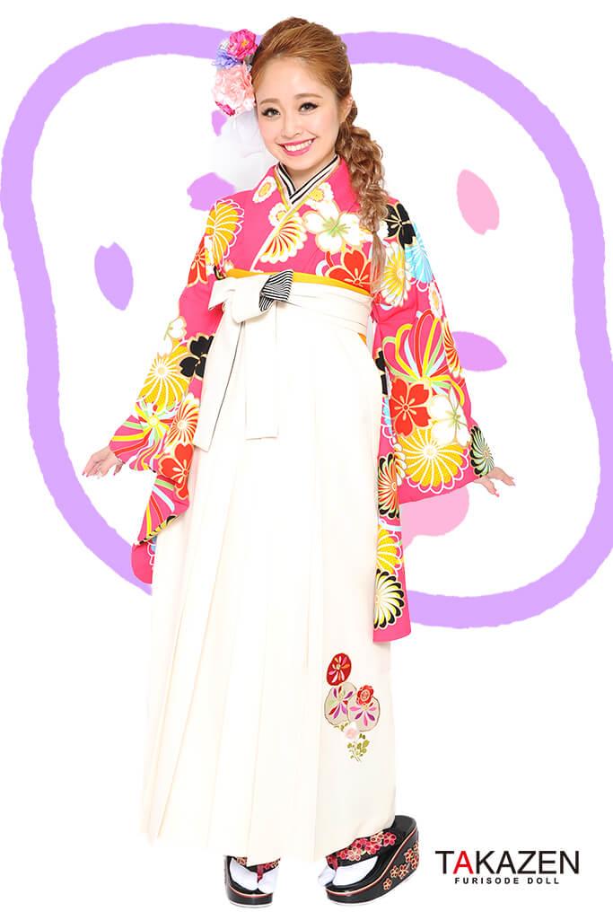 【卒業式袴レンタル/通販可】人気個性的レトロモダン(目立つ可愛い) RY015