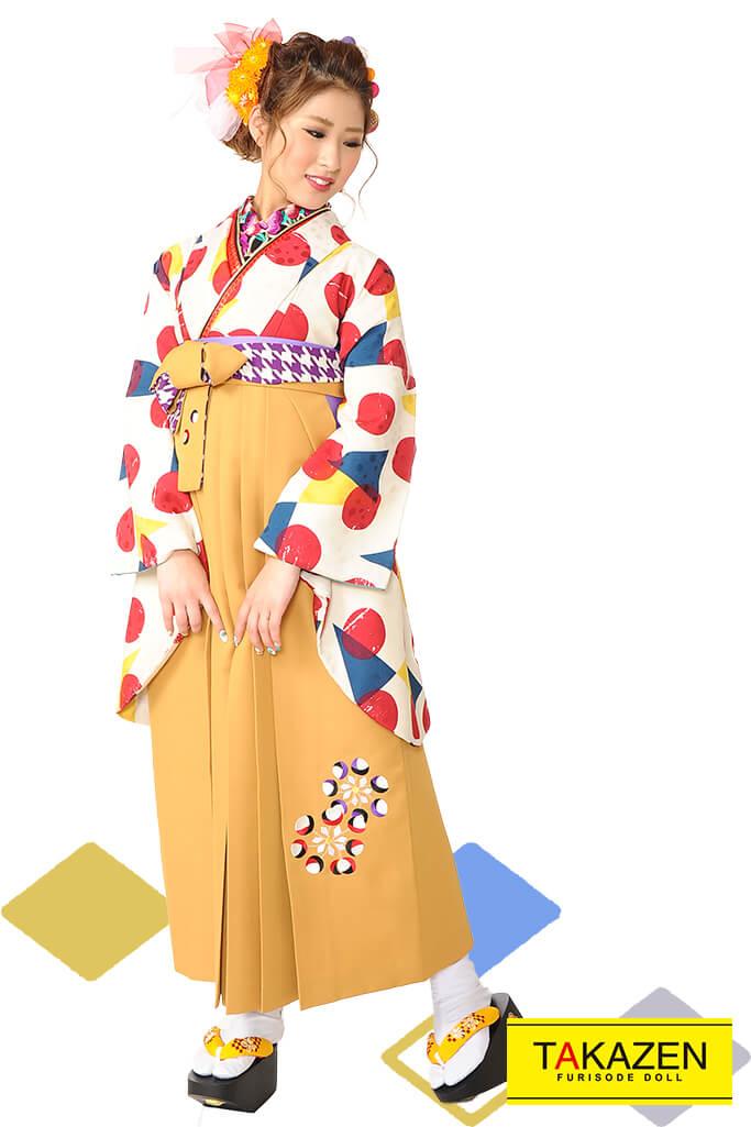 【卒業式袴レンタル/通販可】人気個性的レトロモダン(被らないアンティーク柄) RY017