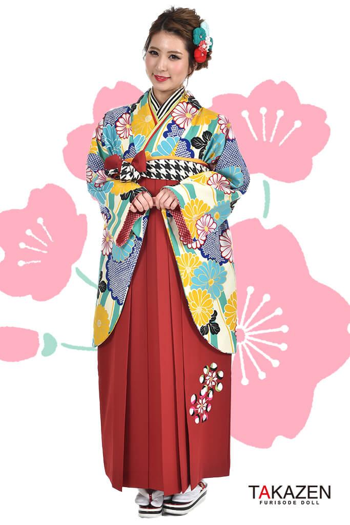 【卒業式袴レンタル/通販可】人気個性的レトロモダン(可愛い派手) RY019