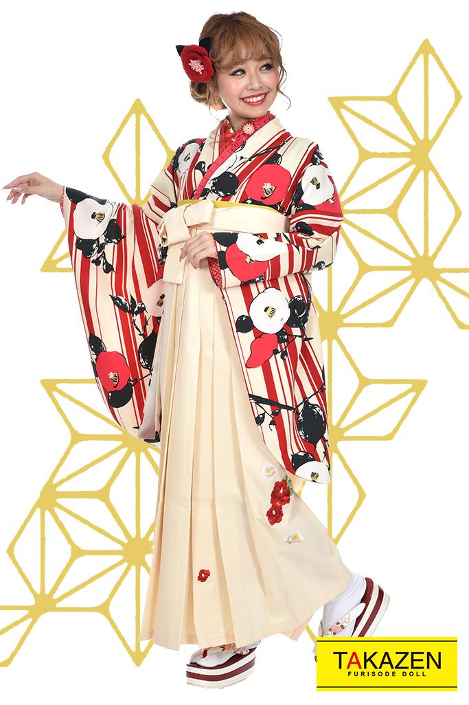 【卒業式袴レンタル/通販可】人気個性的大正ロマン(ストライプ椿柄) RY020