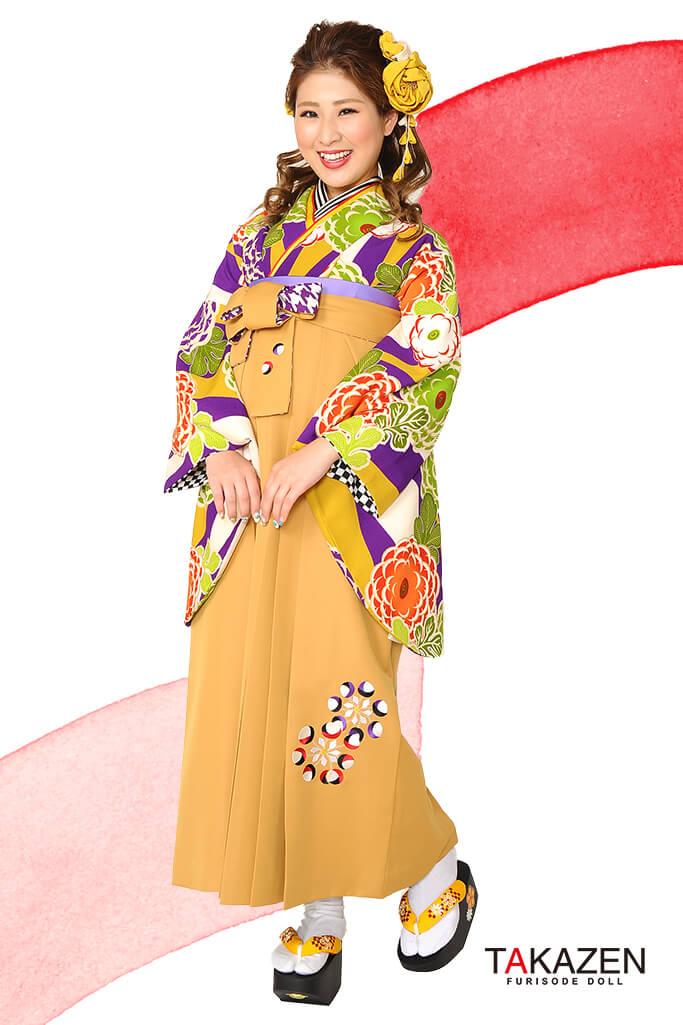 【卒業式袴レンタル/通販可】人気個性的レトロモダン(派手椿柄) RY021
