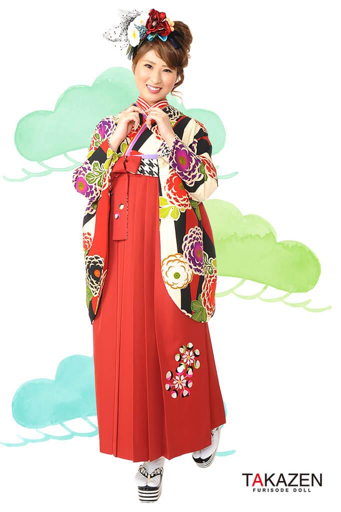 【卒業式袴レンタル/通販可】人気個性的レトロモダン(派手目立つ) RY023