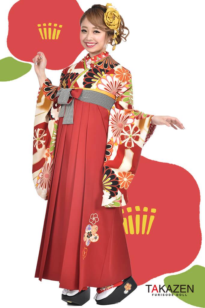 【卒業式袴レンタル/通販可】人気個性的レトロモダン(可愛い花柄) RY025