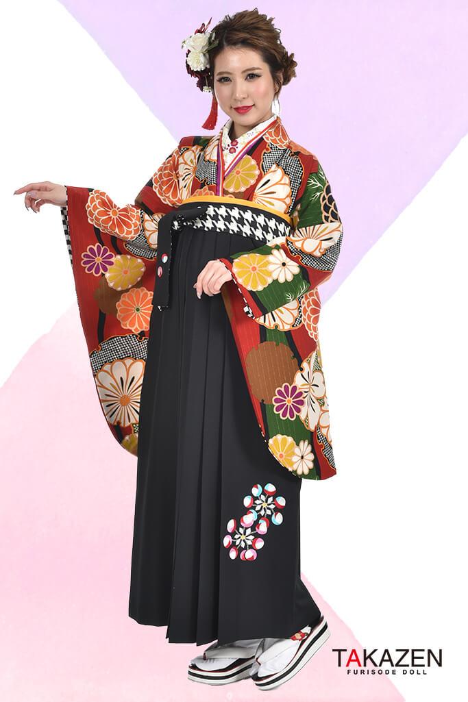 【卒業式袴レンタル/通販可】人気個性的レトロモダン(可愛い花柄) RY026