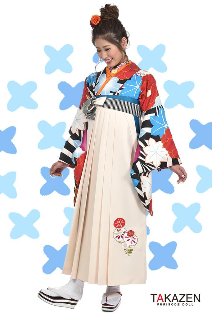 【卒業式袴レンタル/通販可】人気個性的レトロモダン(大柄ツバキ柄) RY029