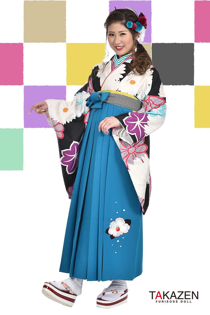 【卒業式袴レンタル/通販可】人気個性的レトロモダン(菊柄紅葉柄) RY030