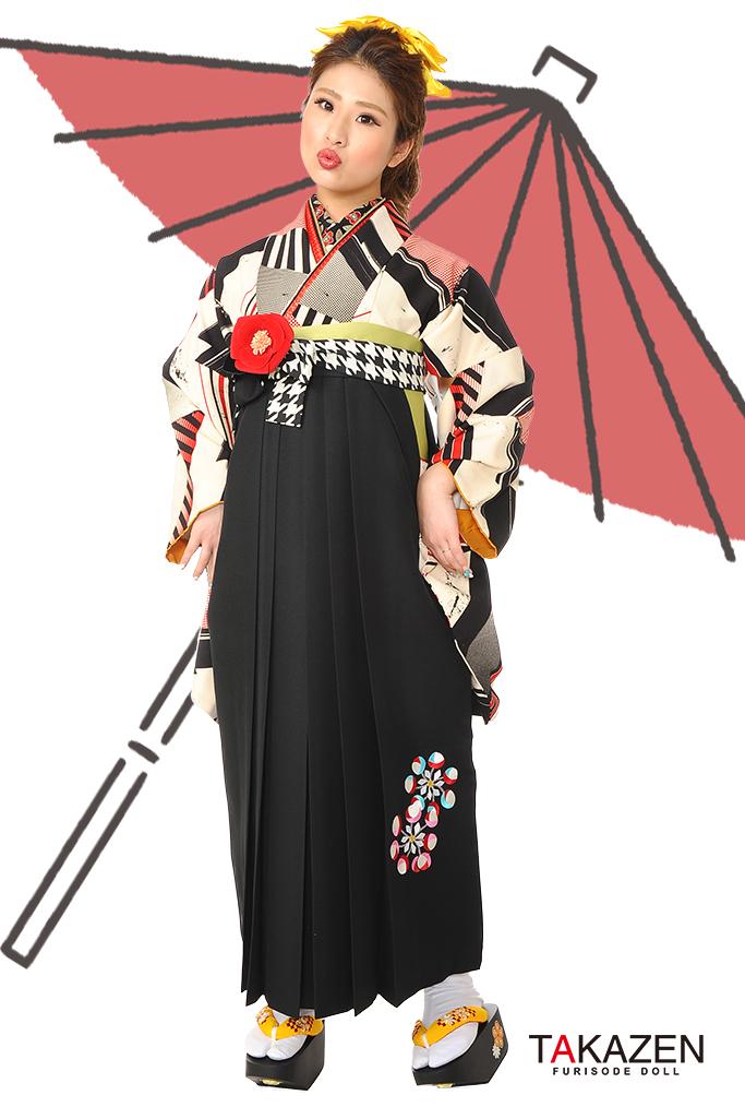 【卒業式袴レンタル/通販可】人気個性的大正ロマン(アンティーク柄) RY033