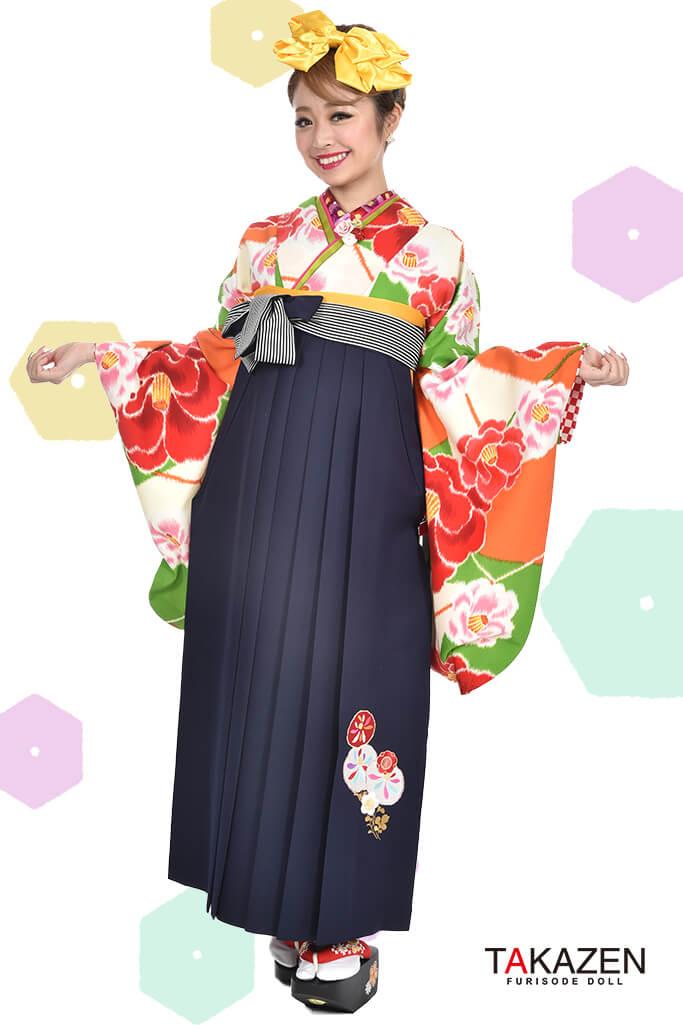 【卒業式袴レンタル/通販可】人気個性的レトロモダン(大柄椿柄) RY034