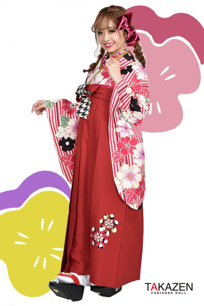 【卒業式袴レンタル/通販可】人気個性的レトロモダン(おしゃれ花柄) RY035