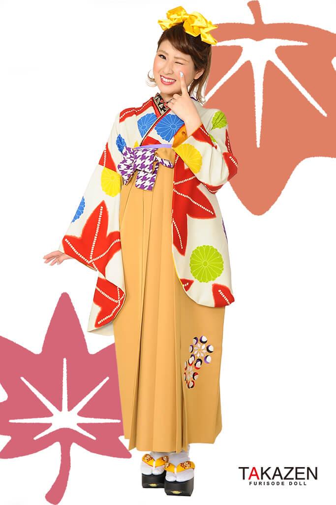 【卒業式袴レンタル/通販可】人気個性的レトロモダン(流行り紅葉柄) RY037