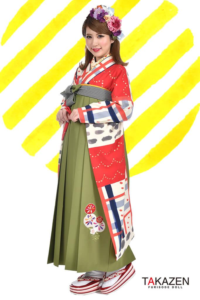 【卒業式袴レンタル/通販可】人気個性的レトロモダン(アンティーク柄) RY038
