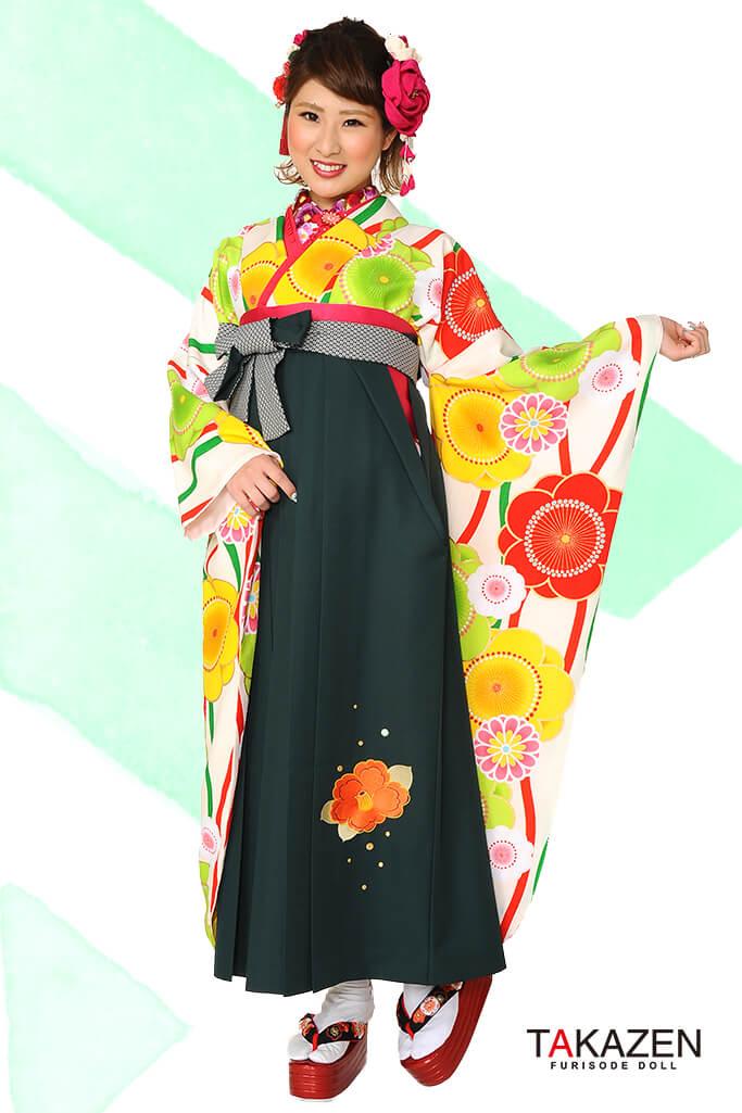 【卒業式袴レンタル/通販可】人気個性的レトロモダン(流行り可愛い) RY040