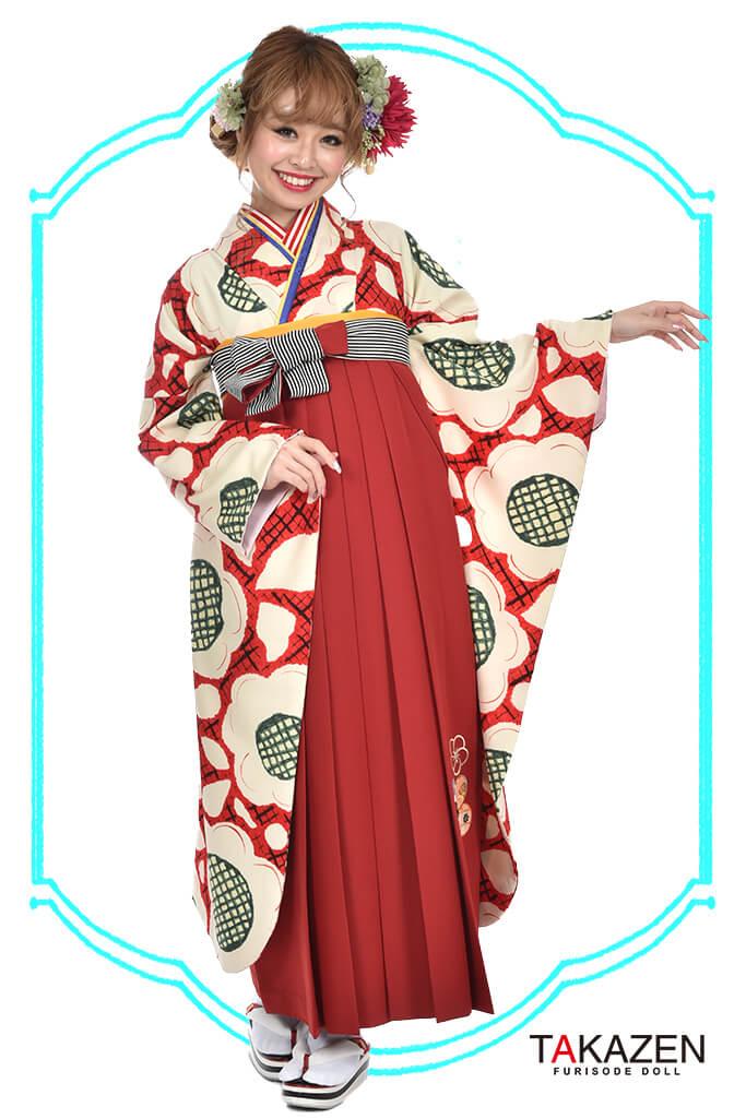 【卒業式袴レンタル/通販可】人気個性的レトロモダン(可愛い大柄) RY041