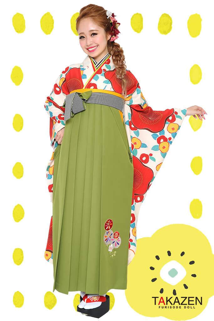 【卒業式袴レンタル/通販可】人気個性的レトロモダン(可愛い大柄椿) RY044