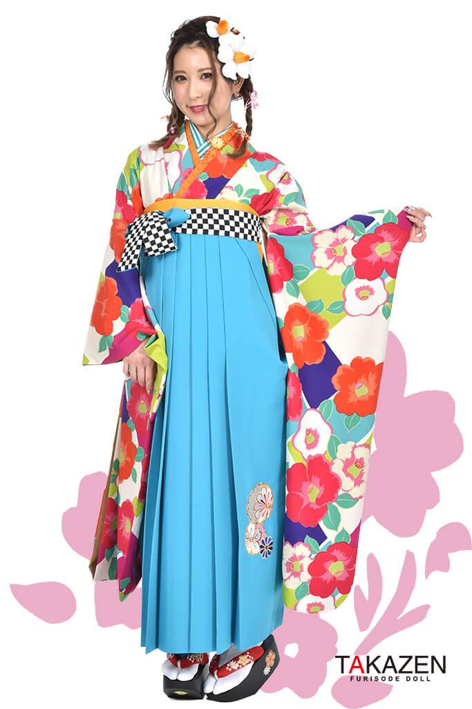 【卒業式袴レンタル/通販可】人気個性的レトロモダン(可愛い椿柄) RY045