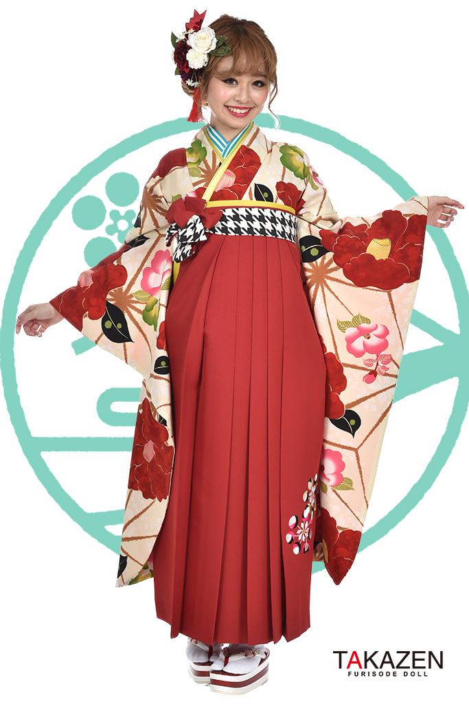 【卒業式袴レンタル/通販可】人気個性的レトロモダン(可愛い大柄椿) RY049