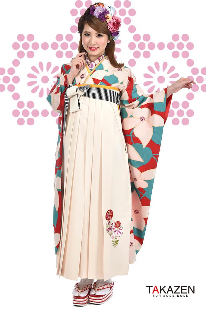 【卒業式袴レンタル/通販可】人気個性的レトロモダン(派手可愛い) RY052